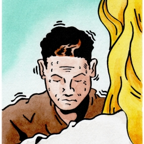 Illustration for a forthcoming publication on young mens health, ink and Watercolour, 2005