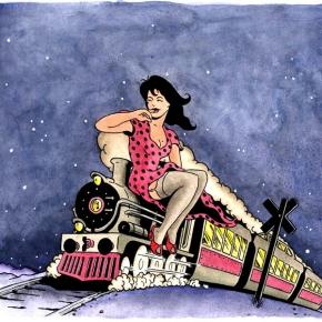 Papas Train album cover illustration, ink and watercolour, 2012