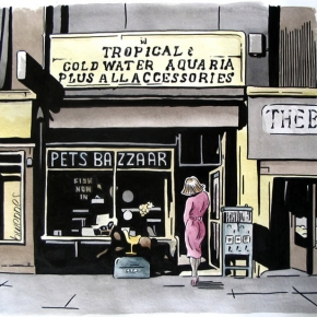 Pets Bazzaare, Breck Road, Liverpool 5, Watercolour 2008