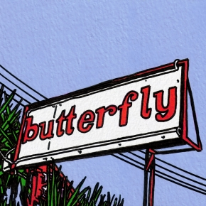 Butterfly neon signage - Palma Nova, ink and gouache, 2000