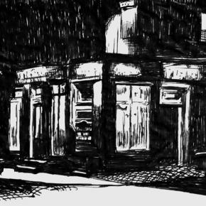 The Grapes, Liverpool, Biro sketch, 2002
