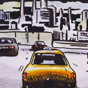 New York approach, ink and watercolour, 2001