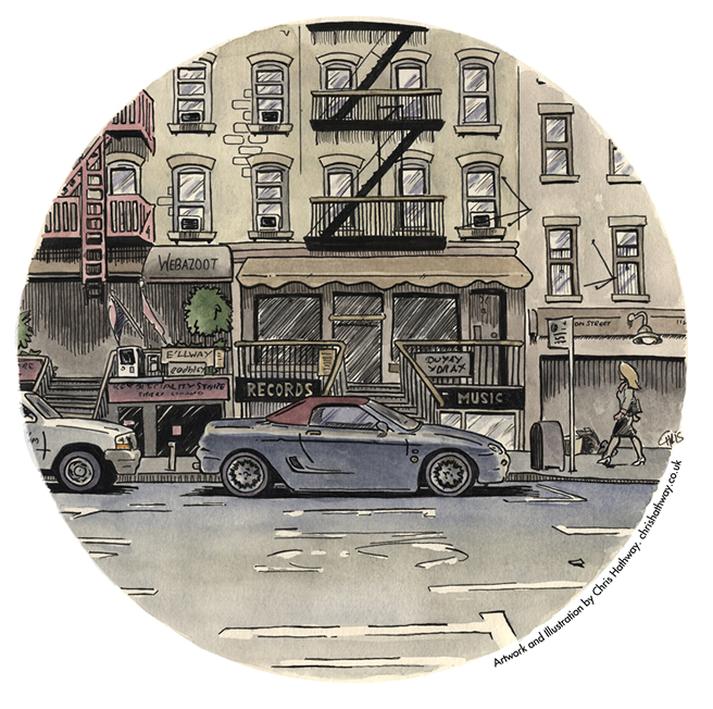 Roadside street view illustration
