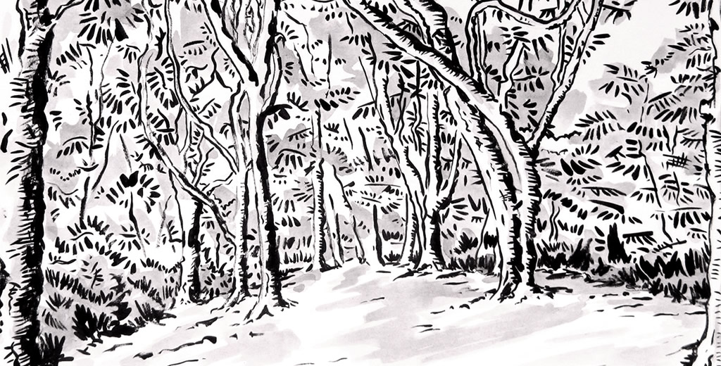 Piper's Hill Wood Ink drawing