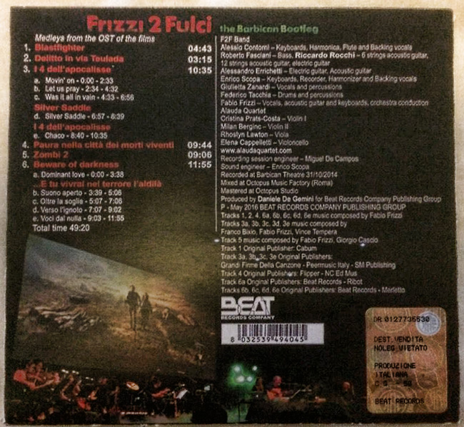 Frizzi 2 Fulci The Barbican Bootleg Beat Records Company release
